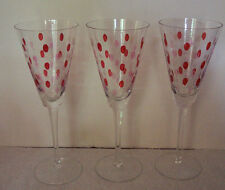 "3 Red & Clear Etched Dots & Lines 9.5"" Wine Glasses / Water Goblets"