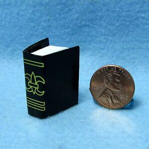 Dollhouse Miniature Black Book with Pages Hymnal Bible Journal IM65760