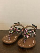 NIB Girls Toddler Kali Black Flower Sandals Sz 2