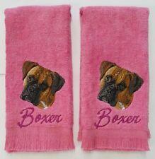 Boxer Dog Embroidered Finger Tip Towels Pink 2 pk