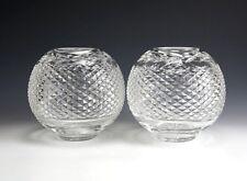 "Pair of Waterford Crystal Glandore Pattern Rose Bowls Ball Vase 5 3/4"" Diamond"