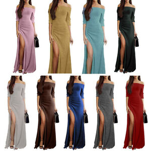 Women Sexy Ruched Off Shoulder Bodycon Party Evening Gown Cocktail Maxi Dress