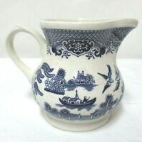 "Churchill Blue Willow Vintage Creamer 3 5/8"" Birds Floral Staffordshire England"
