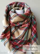 Plaid Blanket scarf, Zara Oversized Scarf, Tartan by Bedao (Beige, Green, Red)