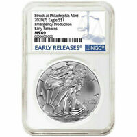 2020 (P) 1 oz Silver Eagle Emergency Production Philadelphia $1 Coin NGC MS69 ER