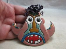 Signed Anita Silverstein Copper Enamel brooch. Funny Face. Wire hair 1