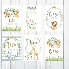 Baby Milestone Cards, 4x6 Photo Prop, 28 cards, Safari, Jungle Animals