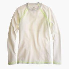 38755 J. Crew Sun Shirt, Swimwear Shirt, White/ Lime Green, Size XXXS NEW $68