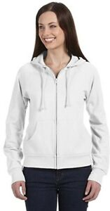 Bella &Canvas White Hoodie L 12-14 100% Cotton Full Zip Women's Ladies BN Raglan