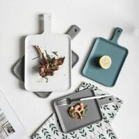 Creative Matte Ceramic Plates Handle Food Service Tray Home Tableware Dinnerware