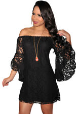 Sexy Black Lace Dress, Off the Shoulder, Bell Sleeves, Soft,Lined, UK 8 10 12 14