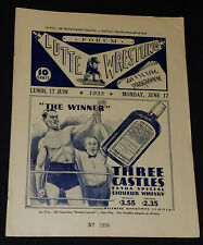 1935 - MONTREAL FORUM - WRESTLING PROGRAM - ORIGINAL