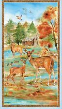 Deer Meadow Wildlife log Cabin Wall Quilt Panel Fabric 100% Cotton Wilmington