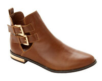 WOMENS TAN FLAT LOW HEEL CUT OUT SMART ANKLE CHELSEA BOOTS SHOES LADIES SIZE 3-8