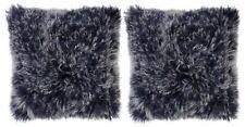 "2 PACK Tibetan Fur Pillows 18""X18"" Lamb NEW Mon Chateau Oxford Blue Square Two"