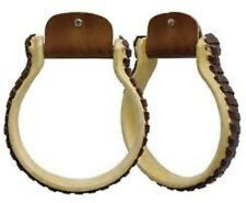 "Western Natural Rawhide Leather 1.0"" Wide Ox Box Stirrups"