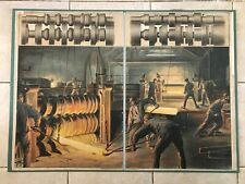 Original vintage pull down school chart of Rolling mill, metallurgical works