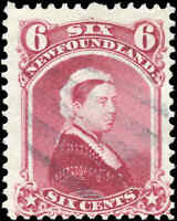 Used Canada Newfoundland 1894 F 6c Scott #36 Queen Victoria Stamp