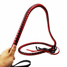 Riding Crop Whip black red Leather 2M Functional Horse Costume Prop Role Play