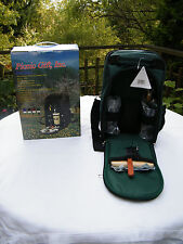 Del Mar Green Two Person Wine and Cheese Tote Picnic Set #2005 New in Box