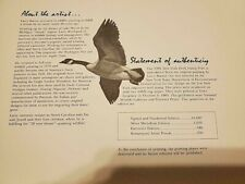 1985 New York Migratory Bird&Conservation Print By Larry Barton Limited Addition