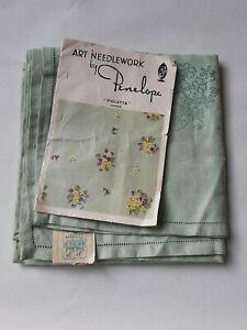 "Vintage PENELOPE 1950s printed linen tablecloth 34"" x 34""  violets & primroses"