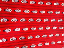 Floral Navy Striped and Red Background Printed Cotton Fabric