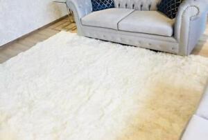 White alpaca fur rug, living room rugs Luxurious alpaca Peruvian, custom rugs