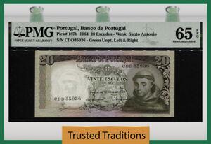 TT PK 167b 1964 PORTUGAL 20 ESCUDOS ANTHONY OF PADUA PMG 65 EPQ STUNNING NOTE!