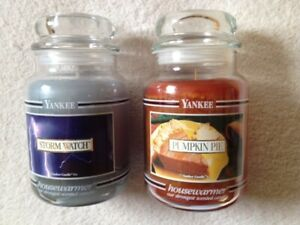 Two (2) Yankee Candles 22oz Black Band, Pumpkin Pie And Storm Watch, Single Wick