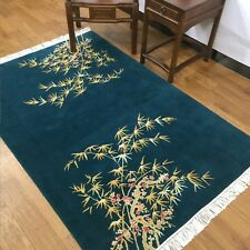 YILONG 4'x6' Bamboo Pattern Handmade Wool Carpet Peacock Green Color Area Rug