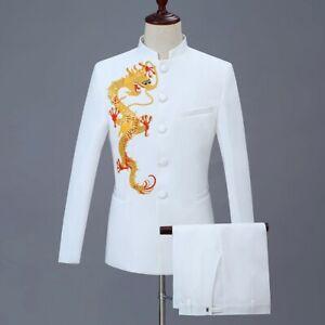 Men Cotton 2 PCS Embroidery Slim Fit Blazers Jacket Pants Prom Suit 10 Colours