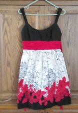 TABOO WOMEN'S RED FLORAL PRINT ON BLACK AND WHITE  DRESS SIZE 34'' BUST