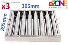 More details for 3x canopy grease baffle filter stainless steel kitchen extraction hood 395x395mm