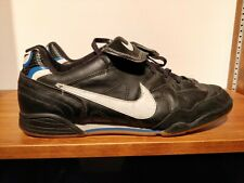 Nike Tiempo Pro Leather - black/royal blue - sz 12 - indoor soccer futsal cleats