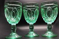 United States Glass Co. 5601 Mirror & Fan Wine Green Stem Goblet Set of 3
