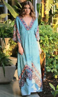 NWT Angie Blue V Neck Bell Sleeve Floral Bohemian Beach Maxi Summer Dress S/M/L