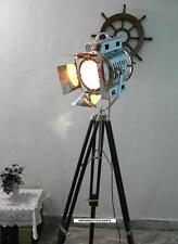HOLLYWOOD STAGE 1940'S ANTIQUE DESIGNER SPOT LIGHT WITH BLACK TRIPOD WOOD STAND