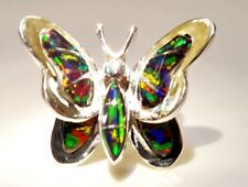 AMAZING Butterfly Ladies Black RED FIRE Opal Ring Sterling Silver 925 3d 9 $225