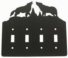 Howling Wolves black quadruple light switch plate cover