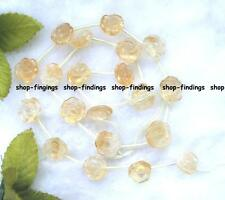 """carved 10-12mm natural yellow citrine loose Beads 16"""""""
