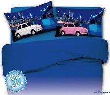 COMPLETO LENZUOLA una piazza e mezza 1 1/2 500 cars bianco rosa blu 100% cotone