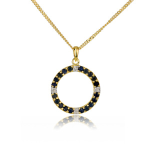 Gold Diamond Sapphire Necklace Blue 1 ct Natural 18'' Chain Yellow Plated Silver