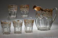 ca. 1912 No. 15140 ATHENIA by U.S. Glass CRYSTAL w/GOLD Pitcher & 5 Tumblers