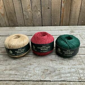 Kent & Stowe 3 Pack of Twine Stone, Cranberry, Green - 150m/ 250g - 3 Ply