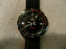 CASIO MEN'S EDIFICE LEATHER STRAP WATCH #EFV-120BL-1AVCR VERY NICE DISPLAY !!!
