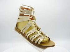 J.Crew Size 9.5 M Ivory Leather Lace Up Gladiator Ghillie Sandal Shoes For Women