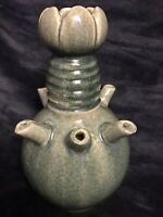 "Antique Chinese Ru Kiln Glazed Pottery Tulipiere Vessel Vase Ewer 12.5"" 6Lbs"