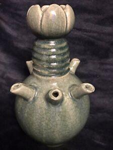"Antique Chinese Ru Kiln Glazed Pottery Tulipiere Vessel Vase Ewer 12.5"" 6Lbs"