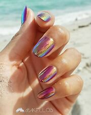 Chelsea by Makellos; Hologram almond shapes nails w/ FREE NAIL GLUE INCLUDED!